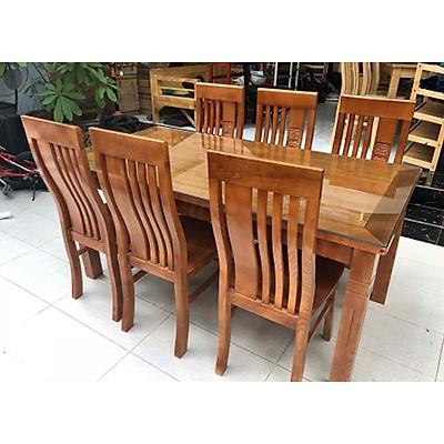Bộ bàn ghế ăn gỗ sồi 6 ghế mặt liền màu cánh dán