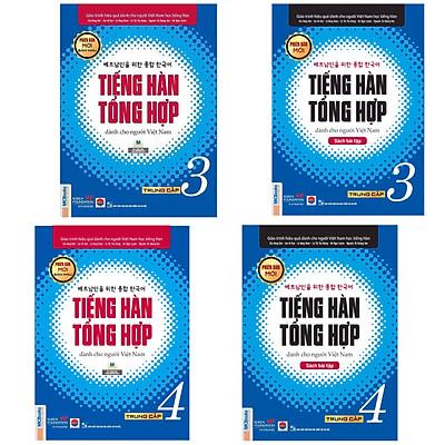 Combo (4 Cuốn) Giáo Trình Tiếng Hàn Tổng Hợp Trung Cấp Tập 3 + Tập 4 (Sách Giáo Khoa và Sách Bài Tập) - Phiên Bản Mới / IN MÀU / Sách Học Tiếng Hàn Hiệu Quả Cho Người Việt