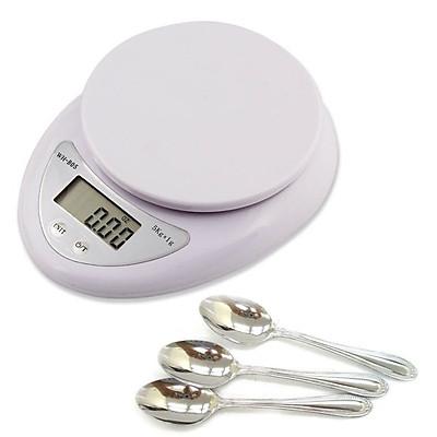 Cân điện tử mini nhà bếp 5kg - Tặng kèm 3 thìa inox
