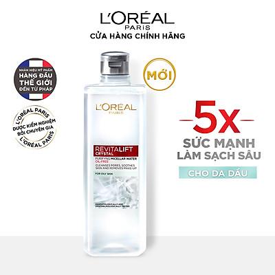 Nước tẩy trang đa năng 3-in-1 L'Oreal Paris Micellar kiềm dầu cho làn da sáng mịn rạng rỡ 400ml