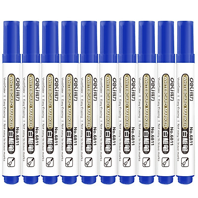 (Deli) 6811 classic series of whiteboard pen (blue) 10 loaded