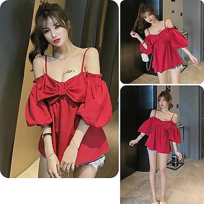 Áo kiểu nữ, áo nữ 2 dây tay dài màu đỏ đủ size S M L hàng VNXK A-27