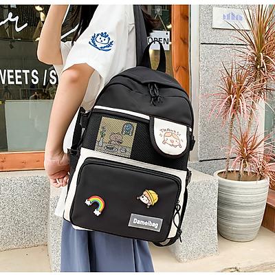 Balo nữ đi học thời trang chống nước kèm sticker kiểu dáng Hàn Quốc