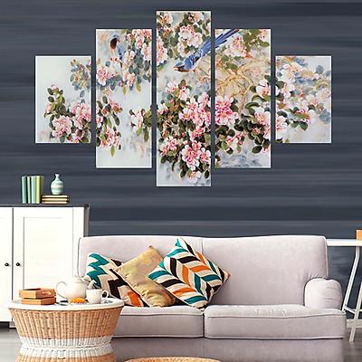 Tranh treo tường, tranh trang trí PP_ NT559 bộ 5 tấm ghép hoa mẫu đơn
