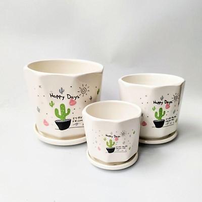 Chậu sứ trồng cây kèm đĩa hứng nước, chậu trồng cây đẹp phù hợp trồng cây để bàn, cây văn phòng, cây phong thủy.