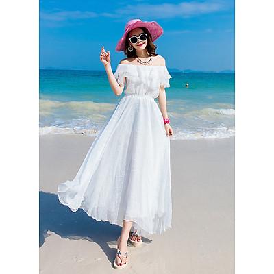Đầm nữ maxi trắng dáng xòe dịu dàng, tay bèo xinh xắn, mặc đi biển, du lịch, dạ hội | MX015