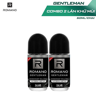 Combo 2 Lăn khử mùi Romano kháng khuẩn & khô thoáng cả ngày 50mlx2 Gentleman
