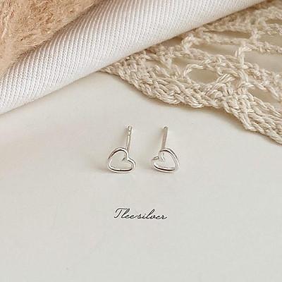 Khuyên tai bạc Tlee, Bông tai hình khối trai tim nhỏ mini xinh xắn-TleeSilver