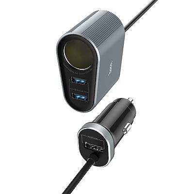Tẩu sạc điện thoại trên xe hơi Hoco có đèn Led ( 2 màu ) - Hàng chính hãng