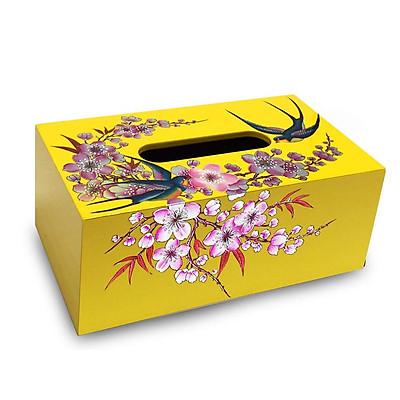 Hộp khăn giấy sơn mài vẽ chim én hoa đào nền vàng cao cấp MNV-HKGHD003