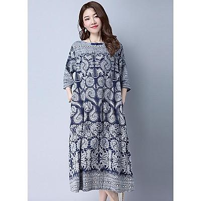Đầm suông trung niên form rộng vải linen tay lỡ ArcticHunter, thời trang thương hiệu chính hãng