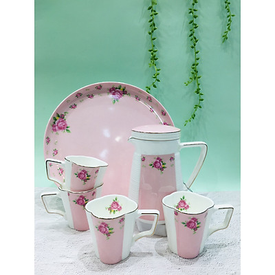Bộ trà sứ xương cao cấp cốc cao chấm bi hồng ROYAL 5547