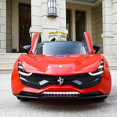 Ô tô xe điện FERRARI 7587 đồ chơi vận động cho bé tự lái và điều khiển (Đỏ-Trắng-Xám nâu)