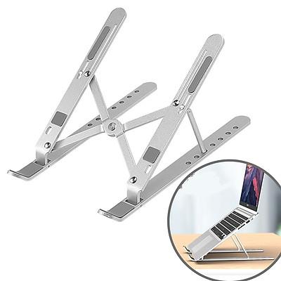 giá kê laptop/macbook hợp kim nhôm gập gọn, tùy chỉnh độ cao tầm nhìn, đế tản nhiệt laptop