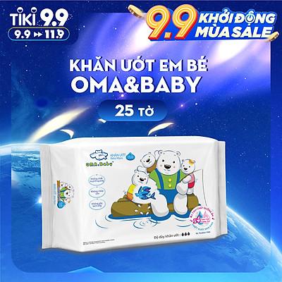 Khăn ướt làm sạch tinh khiết dành cho bé Oma&Baby với công thức Chlorhexidine Digluconate kháng khuẩn an toàn, dịu nhẹ trong khăn ( 25 tờ ) - Oma&Baby premium baby wet wipes ( 25 sheets per package)