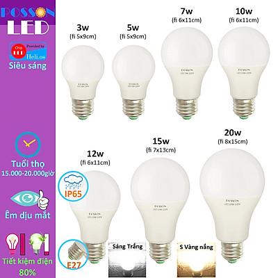 Bóng đèn Led 3w 5w 7w 9w 10w 12w 15w 20w bup tròn A bulb kín chống nước Posson LB-3-20x