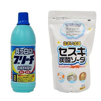 Combo Nước tẩy quần áo 600ml Rocket + Bột baking soda Sesuki 500g (tẩy trắng) Rocket nội địa Nhật Bản