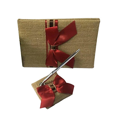 Wedding Burlap Embellished Satin Wedding Guest Book Pen and Stand Set Red