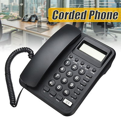 Black Desktop Home Business Office Corded Phone Landline Telephone LCD US