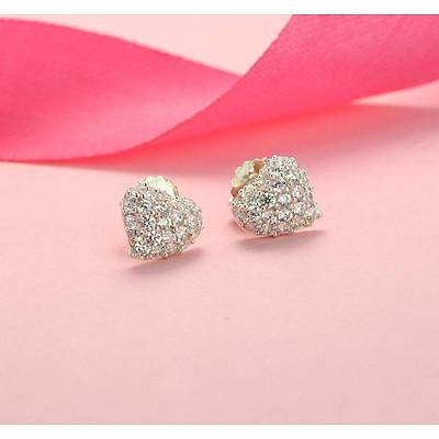 Khuyên tai bạc nữ đẹp, bông tai bạc nữ trái tim đính đá đẹp BTN0091