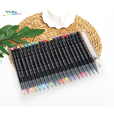Bộ 20 bút lông màu nước cao cấp Water Color Brush Pen - Tặng 1 cọ Water Brush - Màu nước, màu vẽ, bút lông cao cấp Chính Hãng VinBuy