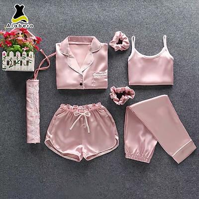 Bộ đồ lụa nữ pijama màu Hồng Phấn mặc nhà siêu đẹp, sang chảnh, 1 bộ lên tới 7 chi tiết