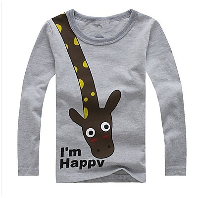 Children Long Sleeve Tops Giraffe I'm Happy Kids Boys T-shirt Top Spring Clothing casual baby clothing Tops 2-6Y