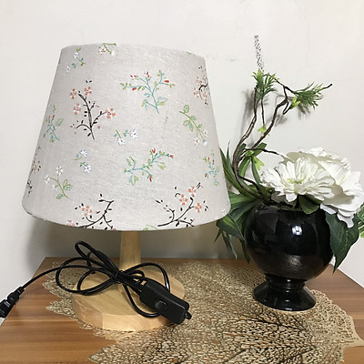 Đèn ngủ để bàn DB-G03 DÂY HOA NHÍ - đèn bàn trang trí chóa vải bố linen DIY, chân gỗ vintage, công tắc bật tắt, tặng kèm bóng