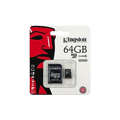 Thẻ Nhớ  Micro SD Kingston 64GB Class 10 + Adapter - Hàng Chính Hãng
