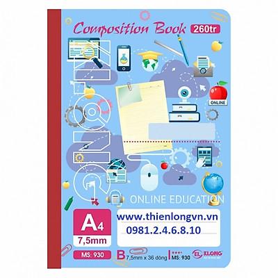 Sổ may dán gáy A4 - 260 trang; Klong 930 - Mẫu 2