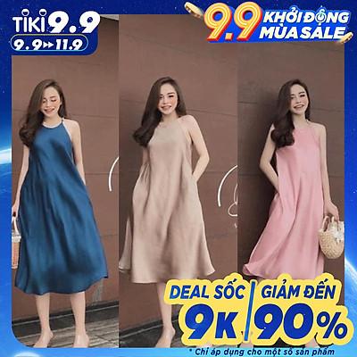 váy yếm lụa dáng dài 3 màu xinh xắn