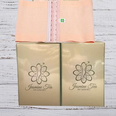 Combo 2 Hộp Trà Jasmine Tea (Hộp 15 gói), Tặng kèm đai nịt bụng