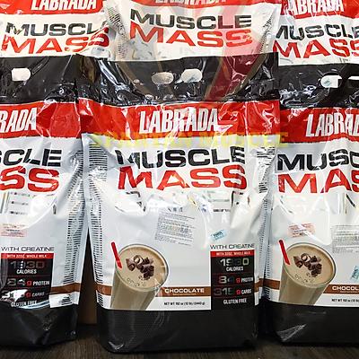 Thực phẩm Hỗ trợ Tăng cân - Tăng Cơ Muscle Mass Gainer 5.443 Kg của Labrada + Tặng kèm Bình lắc (Màu ngẫu nhiên) 600ml