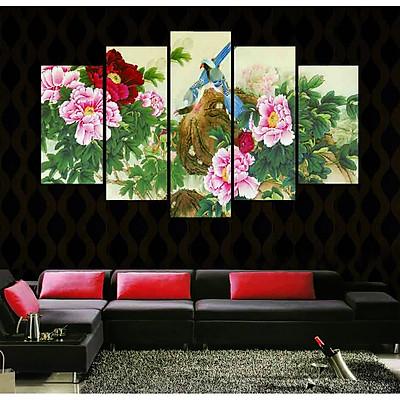 Tranh treo tường, tranh trang trí PP_ NT542 bộ 5 tấm ghép hoa mẫu đơn