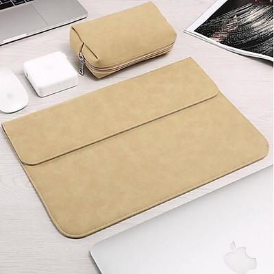 Bao da, túi da, cặp da chống sốc cho macbook, laptop chất da lộn kèm ví đựng phụ kiện