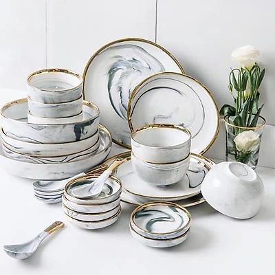 Bộ bát đĩa Gốm sứ cao cấp Men Gấm họa tiết vân đá viền vàng cao cấp sang trọng 32  sản phẩm dùng bữa ăn gia đình nhà hàng khách sạn