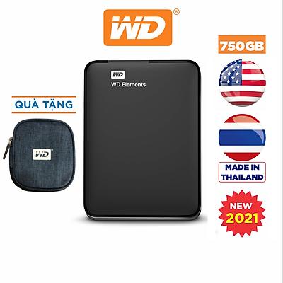 Ổ Cứng Di Động WD Elements Portable 750GB 2.5 USB 3.0 - WDBUZG7500ABK-WESN - Hàng Chính Hãng