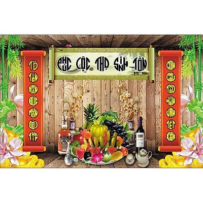 Tranh dán tường phòng thờ cuốn thư - mâm ngũ quả - vải lụa kim tuyến (kích thước theo yêu cầu)