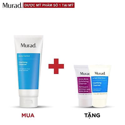 Gel rửa mặt dành cho da mụn Murad Clarifying Cleanser 200ml TẶNG Srm AHA/BHA Cleanser 15ml + Sữa rửa mặt Murad Acne Control 15ml
