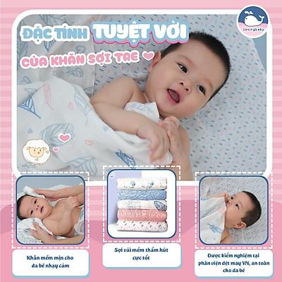 Hộp 6 khăn sữa sợi tre cho bé - siêu thấm hút, mềm mịn, an toàn cho da bé - kích thước 30x30cm