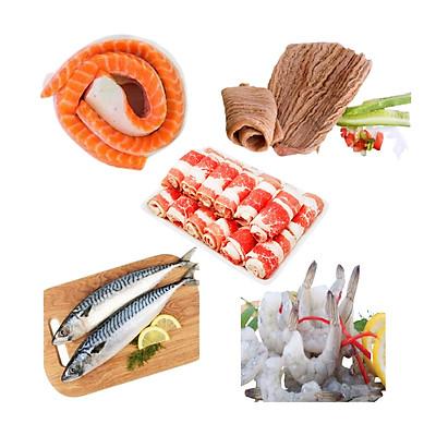 Combo 20: 500gr bao tử cá ngừ + 500gr ba chỉ bò Mỹ cuộn + 1kg cá saba Nhật + 1kg tôm thẻ lột vỏ còn đuôi + 300gr Lườn cá hồi Nauy 5+