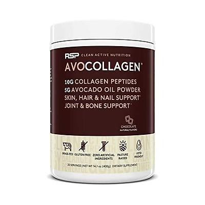 RSP AvoCollagen - Hydrolyzed Collagen Peptides, Collagen Powder Plus Healthy Fats, Keto and Paleo Friendly, Gluten Free 20 Servings (Chocolate)