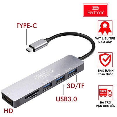 Thiết bị Earldom W18 hỗ trợ chuyển đổi từ cổng USB TypeC 6 in 1(USB TypeC 6 to HDMI + 3 USB 3.0 + SD Card Reader + TF Card Earldom W18) - hàng chính hãng