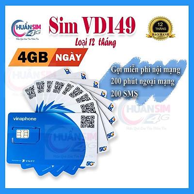 Sim VD149 1 năm VinaPhone 4G - 1440GB - Miễn phí cuộc gọi -  tin nhắn- Hàng Chính Hãng