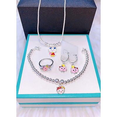(ẢNH - VIDEO THẬT) Bộ trang sức bạc ta mèo kittys (MSP: BTS170440)