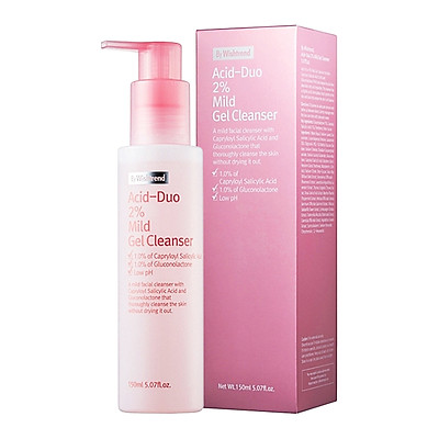 Sữa rửa mặt dạng gel cho da dầu dầu nhờn, da mụn By Wishtrend Acid - Duo 2% Mild Gel Cleanser 150ml
