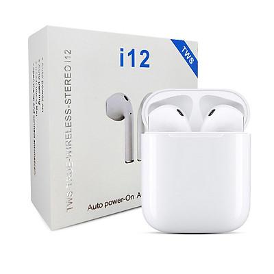 Tai Nghe Mini Bluetooth Không Dây 5.0 i12 Cho Iphone Samsung Xiaomi Huawei - Trắng
