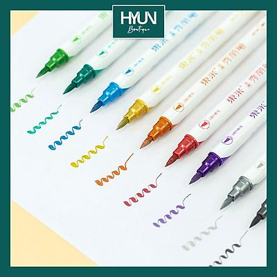 Bộ 10 bút lông 2 đầu màu sắc tươi sáng Hello Summer - Bút brush trang trí sổ tay