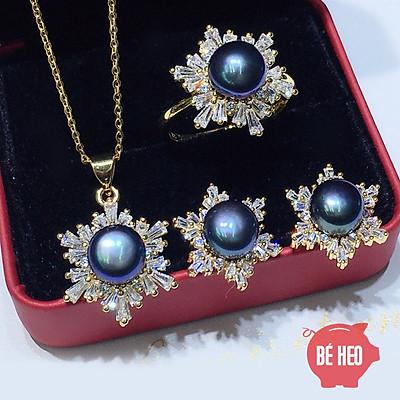 Bộ trang sức ngọc trai nuôi nước ngọt hoa tuyết 3 món cao cấp - Trang sức Bé Heo BHB178