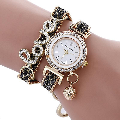 Fashion Women Girls Metal Case Leather Rhinestone Bracelet Quartz Elegant Wrist Watch